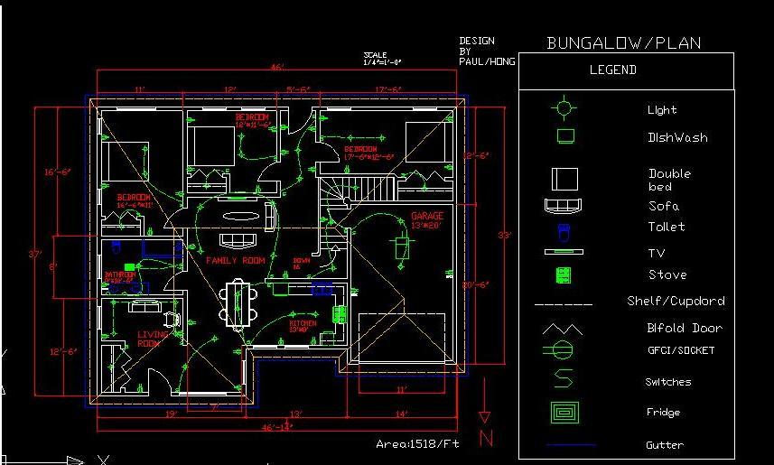 Bungalow Design with AutoCAD | paulhong1