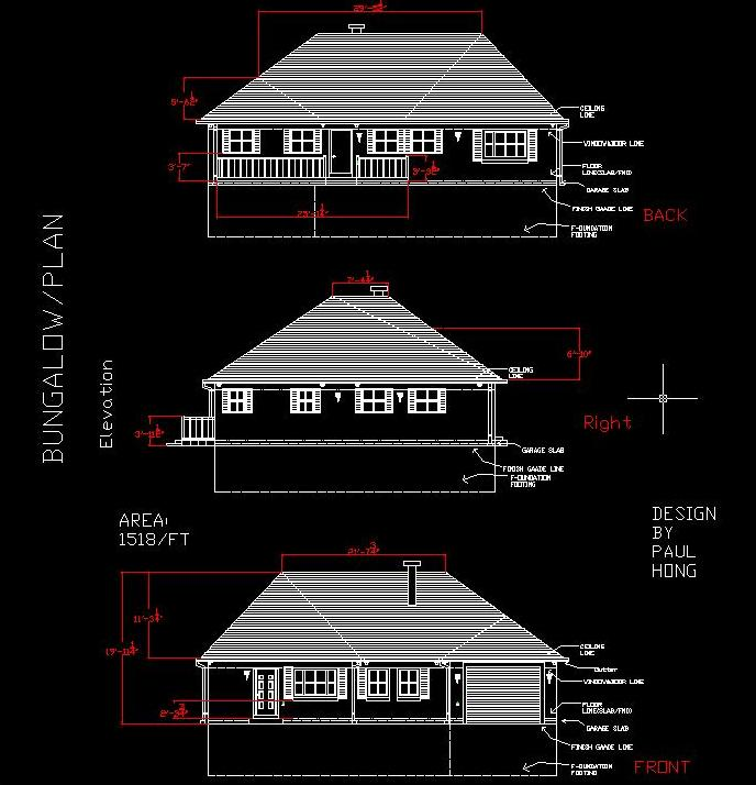 Elevation Plan In Autocad : Bungalow design with autocad paulhong